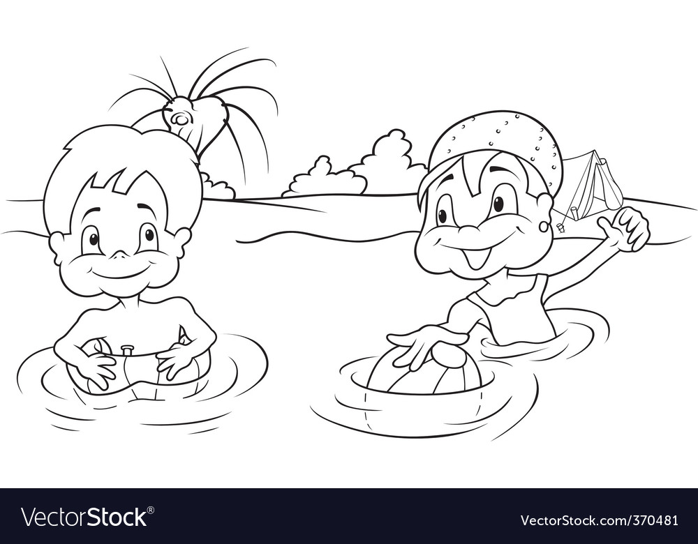 Children bathing vector | Price: 1 Credit (USD $1)