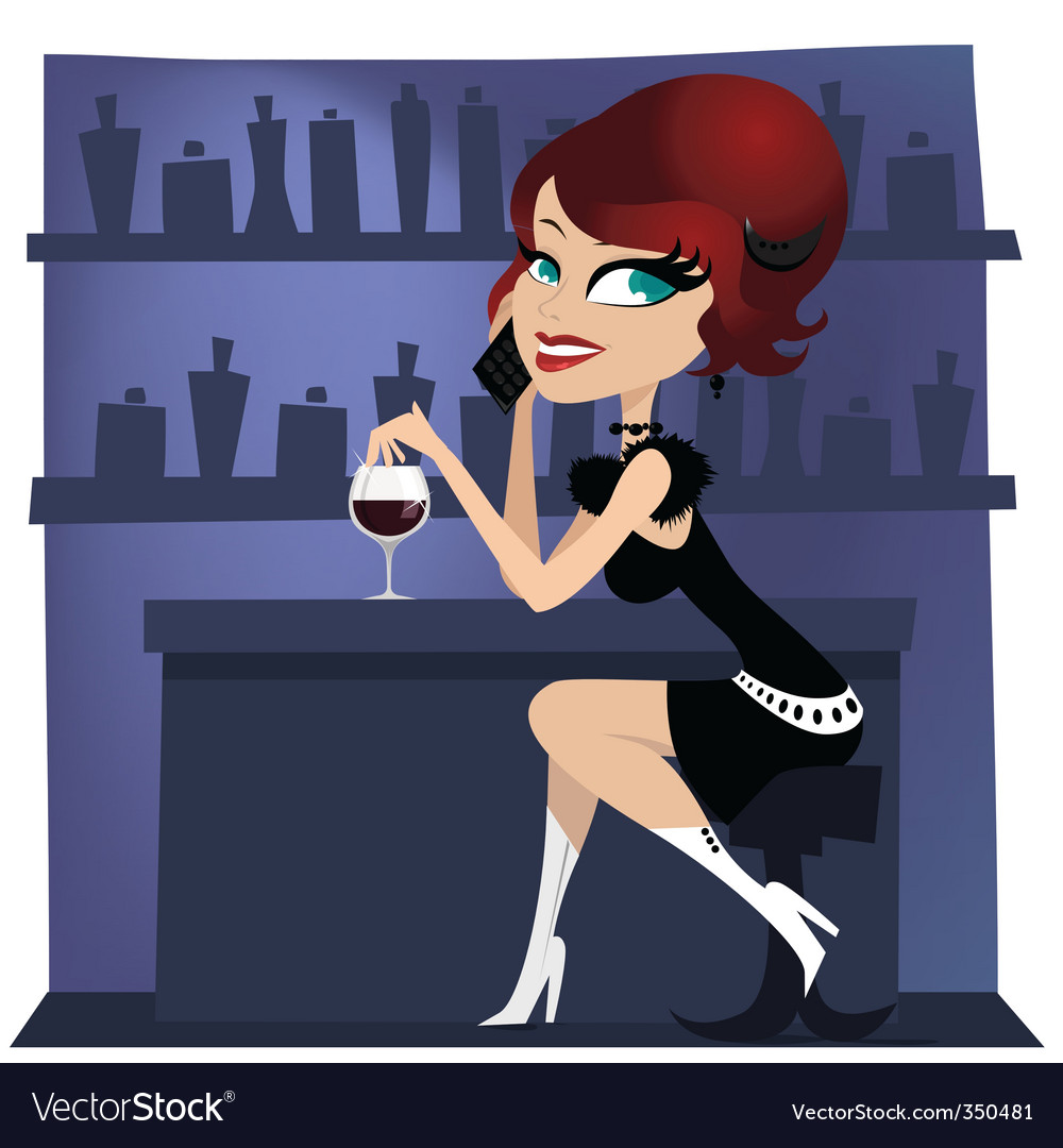 Girl at the bar vector | Price: 3 Credit (USD $3)