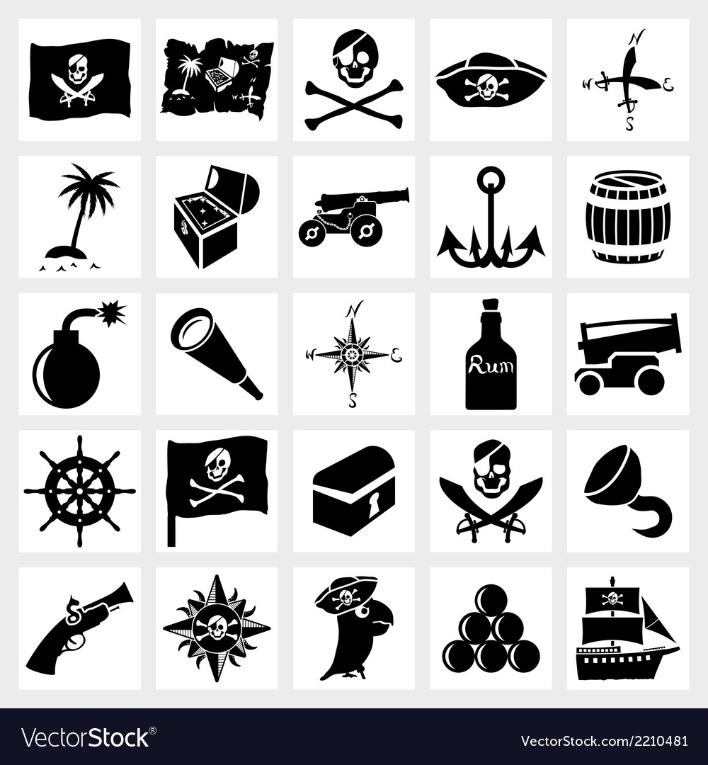 Icon set piracy vector | Price: 1 Credit (USD $1)