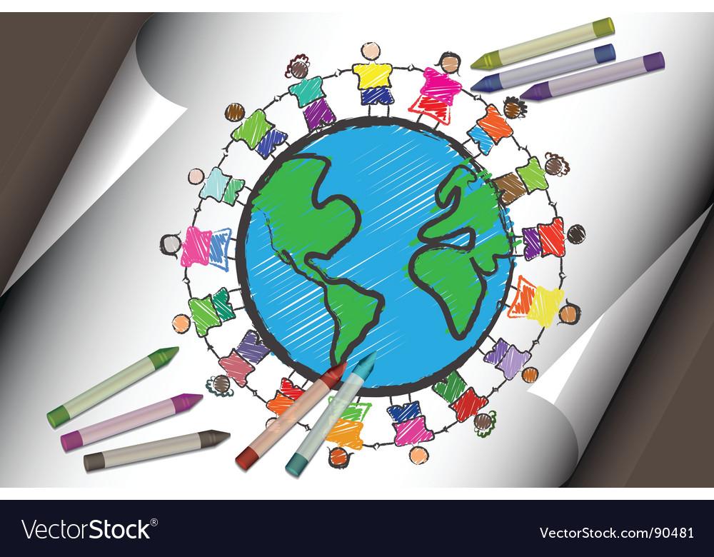 Multi-cultural children vector | Price: 1 Credit (USD $1)