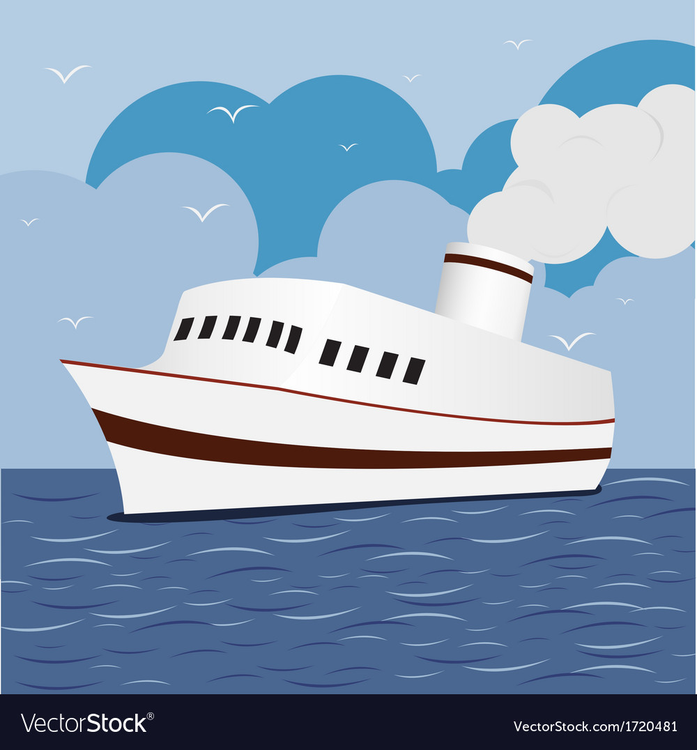 Ocean liner cruise ship boat at sea 1 vector | Price: 1 Credit (USD $1)