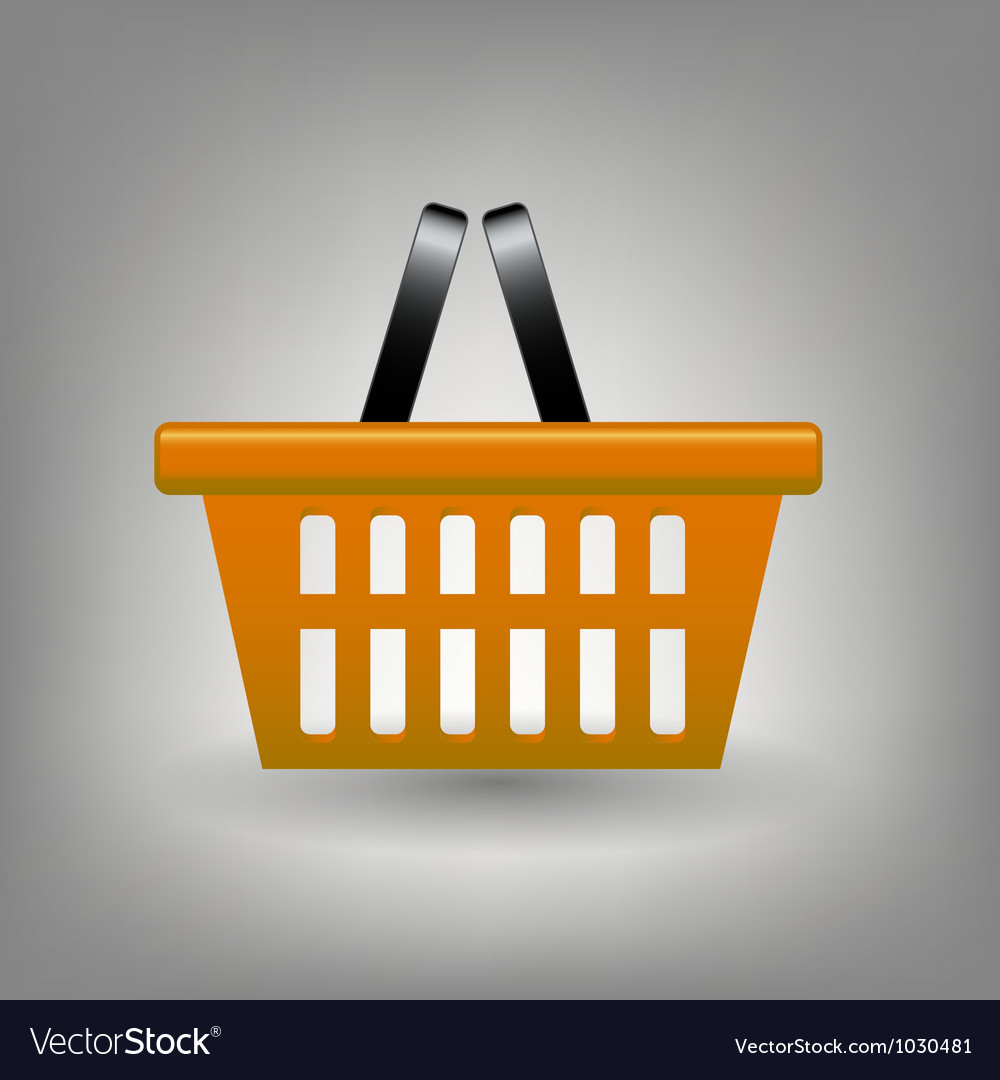 Orange shopping basket icon vector | Price: 1 Credit (USD $1)