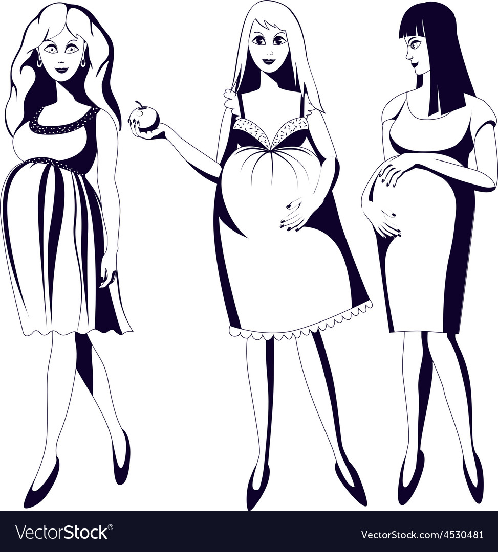 Set of black and white young pregnant women vector | Price: 1 Credit (USD $1)