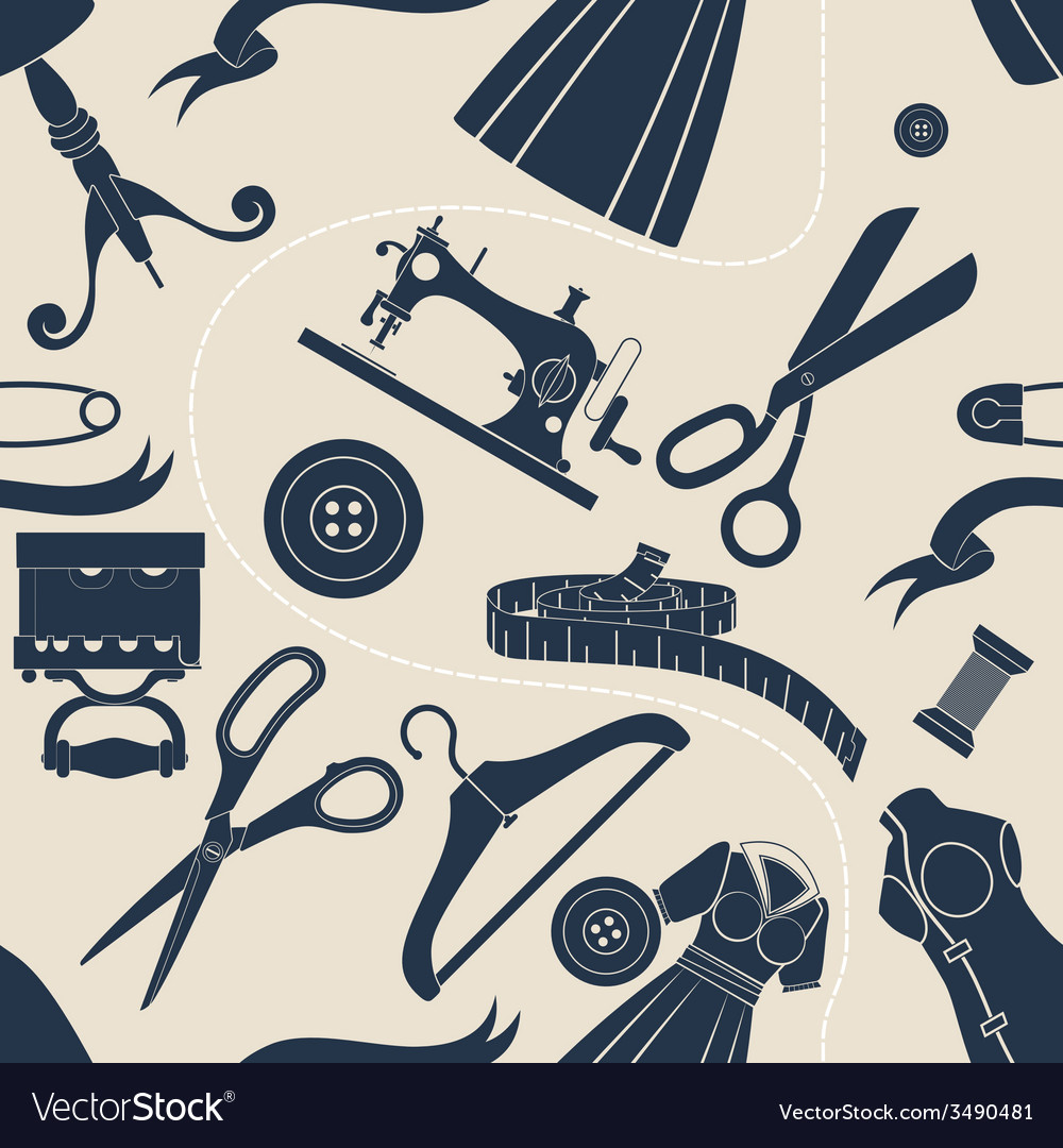 Sewing accessories beige background vector | Price: 1 Credit (USD $1)
