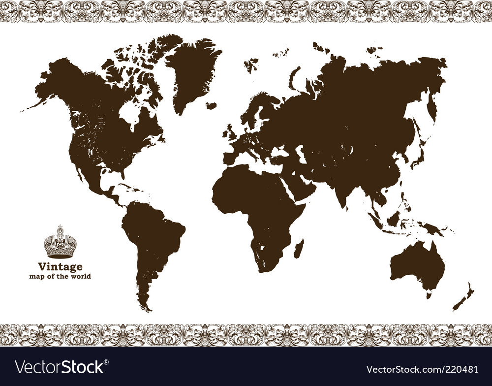 Vintage map of the world vector | Price: 1 Credit (USD $1)
