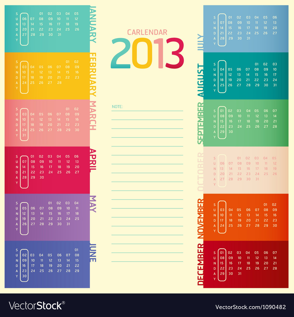 2013 calendar modern soft color vector | Price: 1 Credit (USD $1)