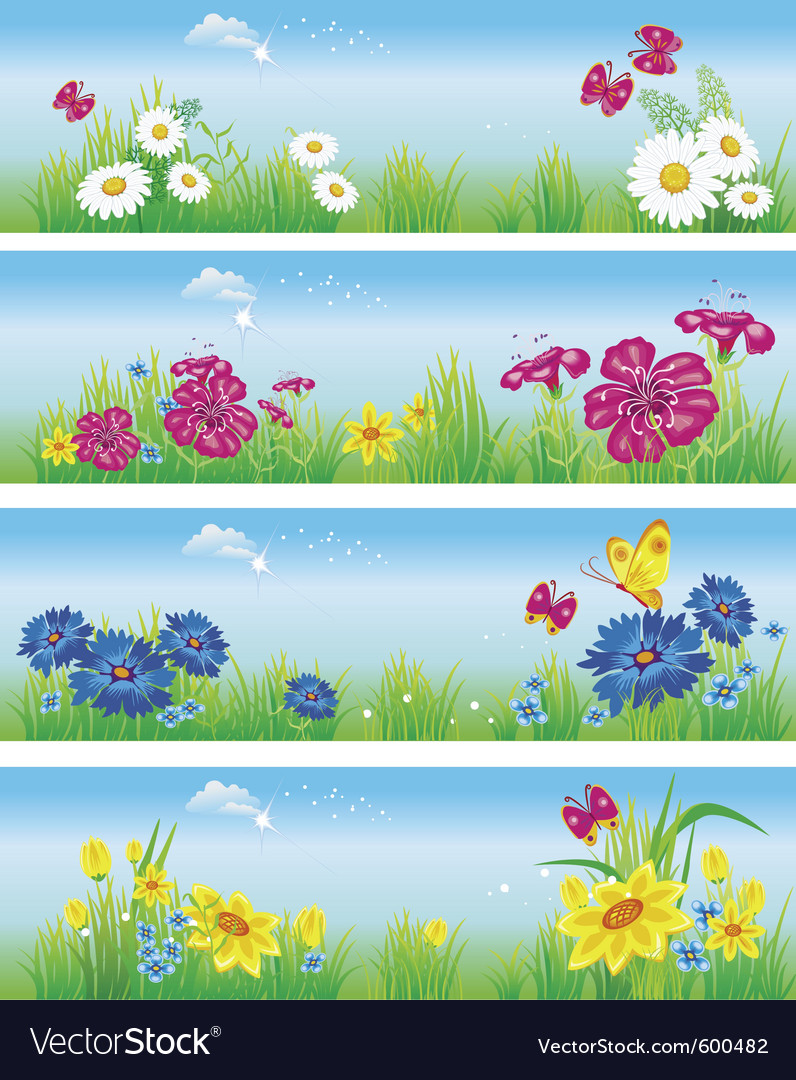 Banners with flowers in meadow vector | Price: 1 Credit (USD $1)