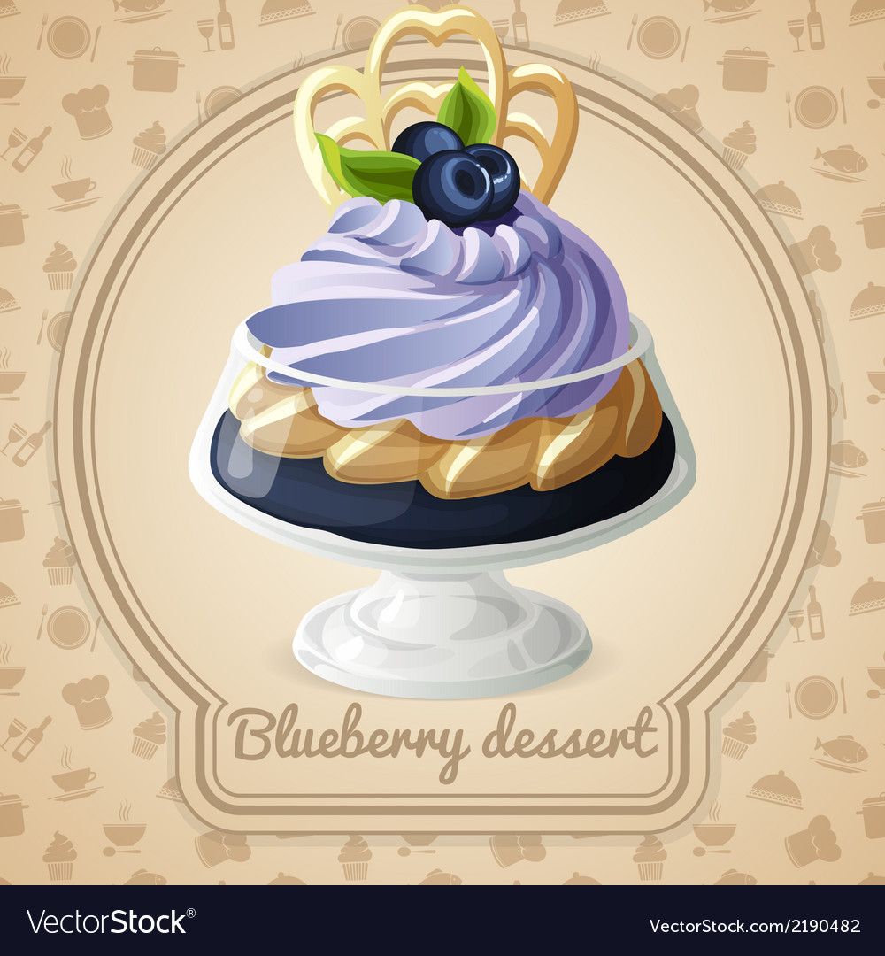 Blueberry dessert badge vector | Price: 1 Credit (USD $1)