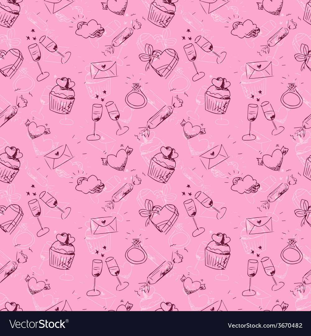 Cute pink sketchy valentines day seamless pattern vector   Price: 1 Credit (USD $1)