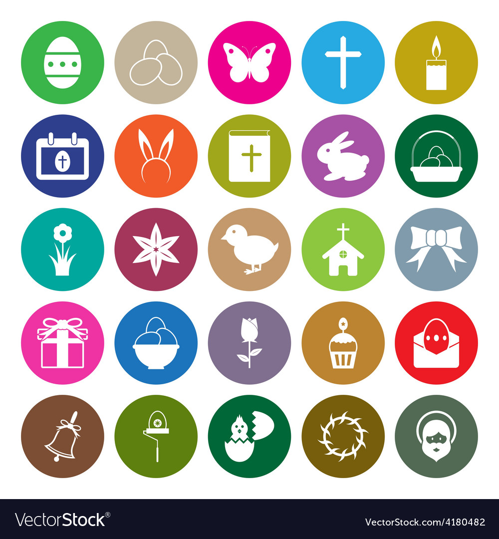 Easter icons set circle vector | Price: 1 Credit (USD $1)