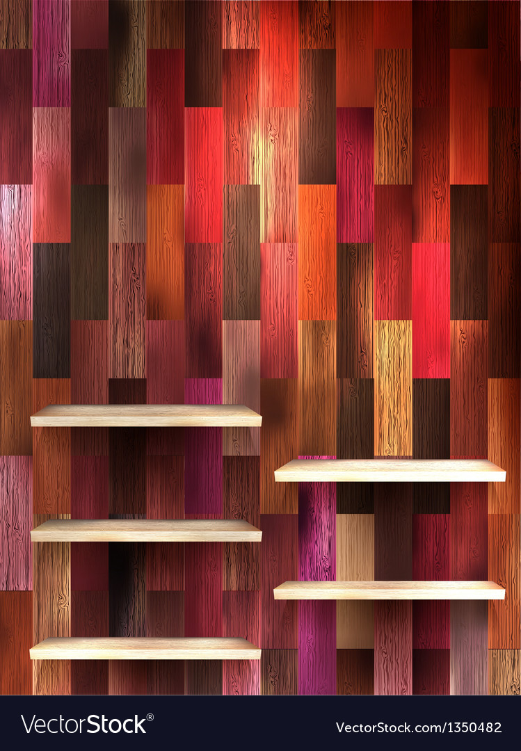 Empty shelf for exhibit on color wood eps 10 vector   Price: 1 Credit (USD $1)