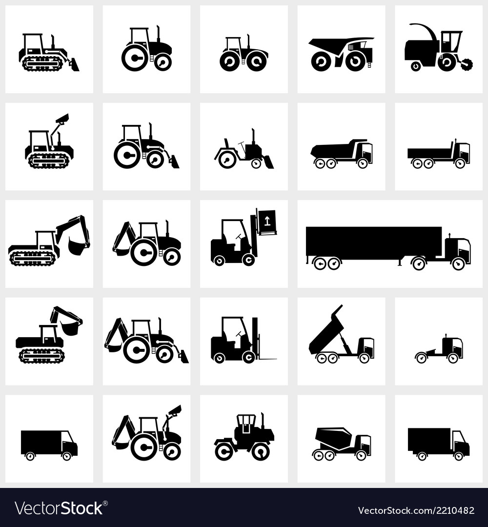 Icon set cars and tractors vector | Price: 1 Credit (USD $1)