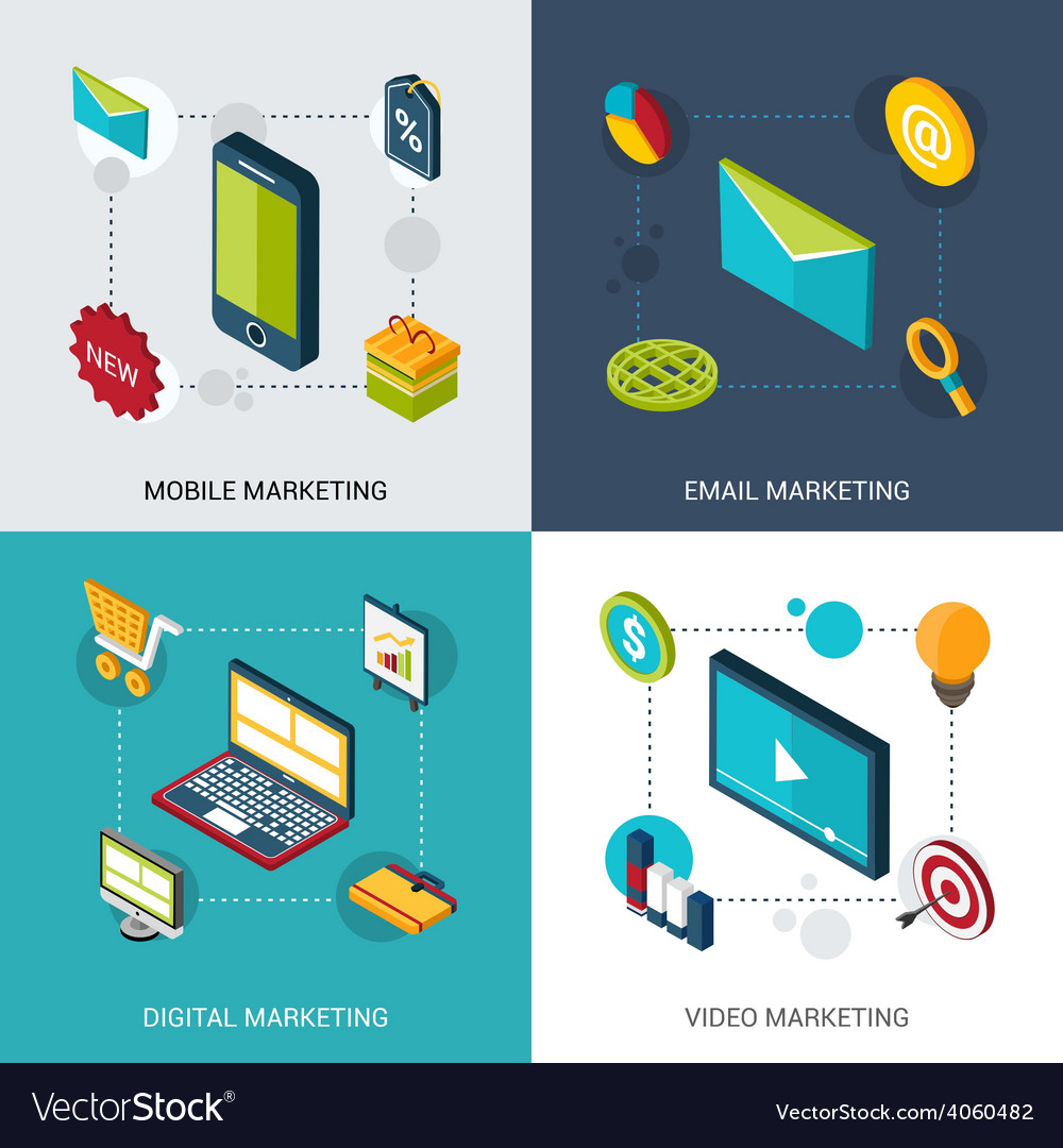 Marketing isometric set vector | Price: 1 Credit (USD $1)