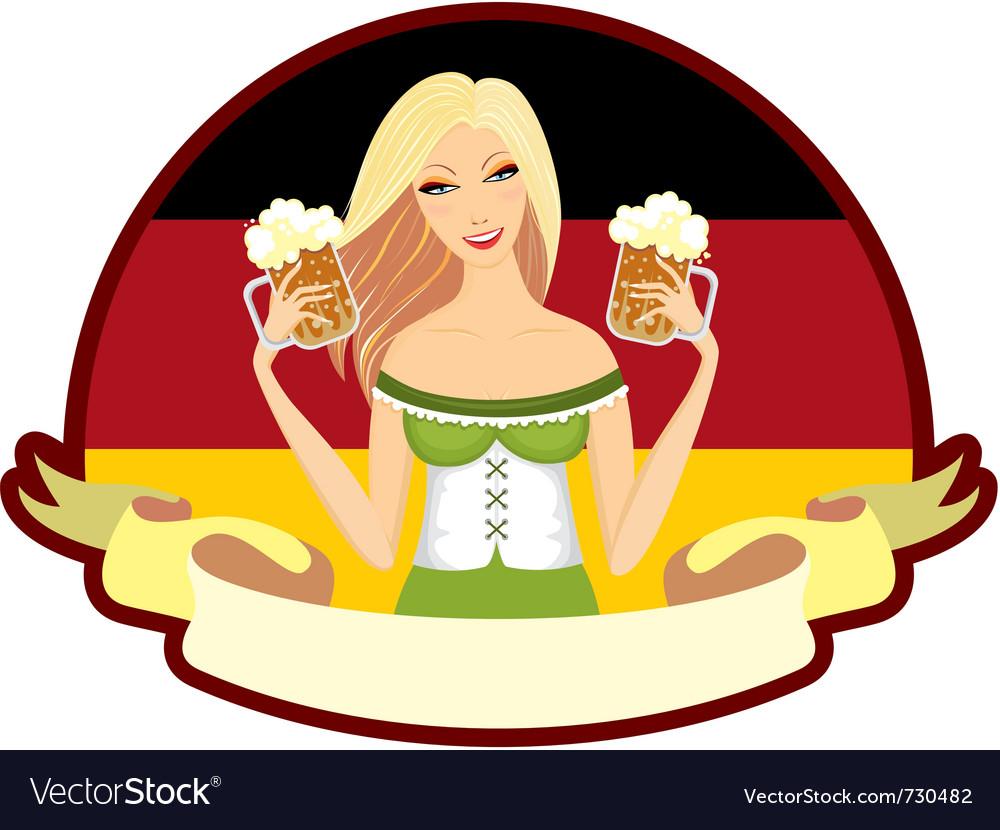 Oktoberfest girl beer label vector | Price: 3 Credit (USD $3)