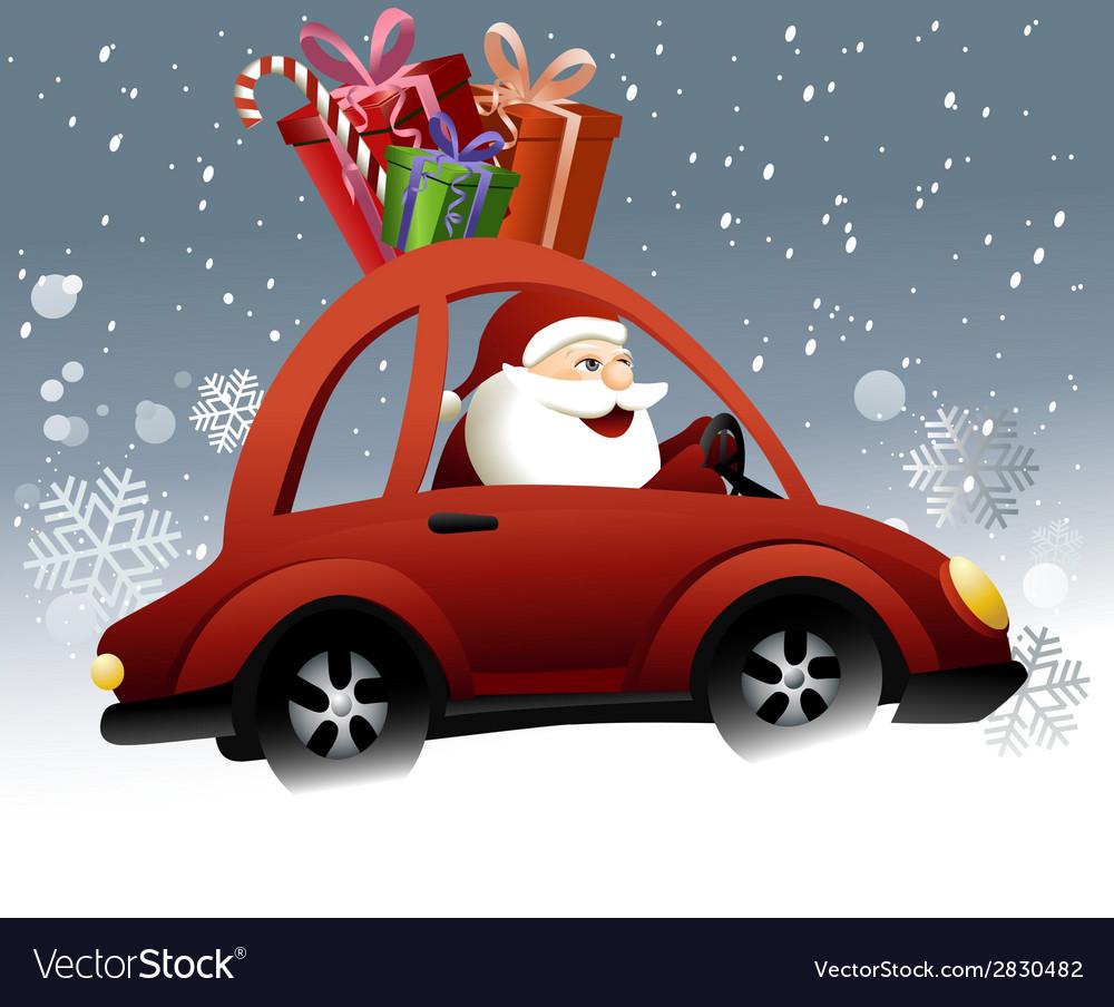 Santa claus driving a car vector   Price: 3 Credit (USD $3)