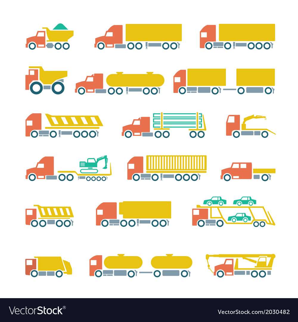 Set flat icons of trucks trailers and vehicles vector | Price: 1 Credit (USD $1)