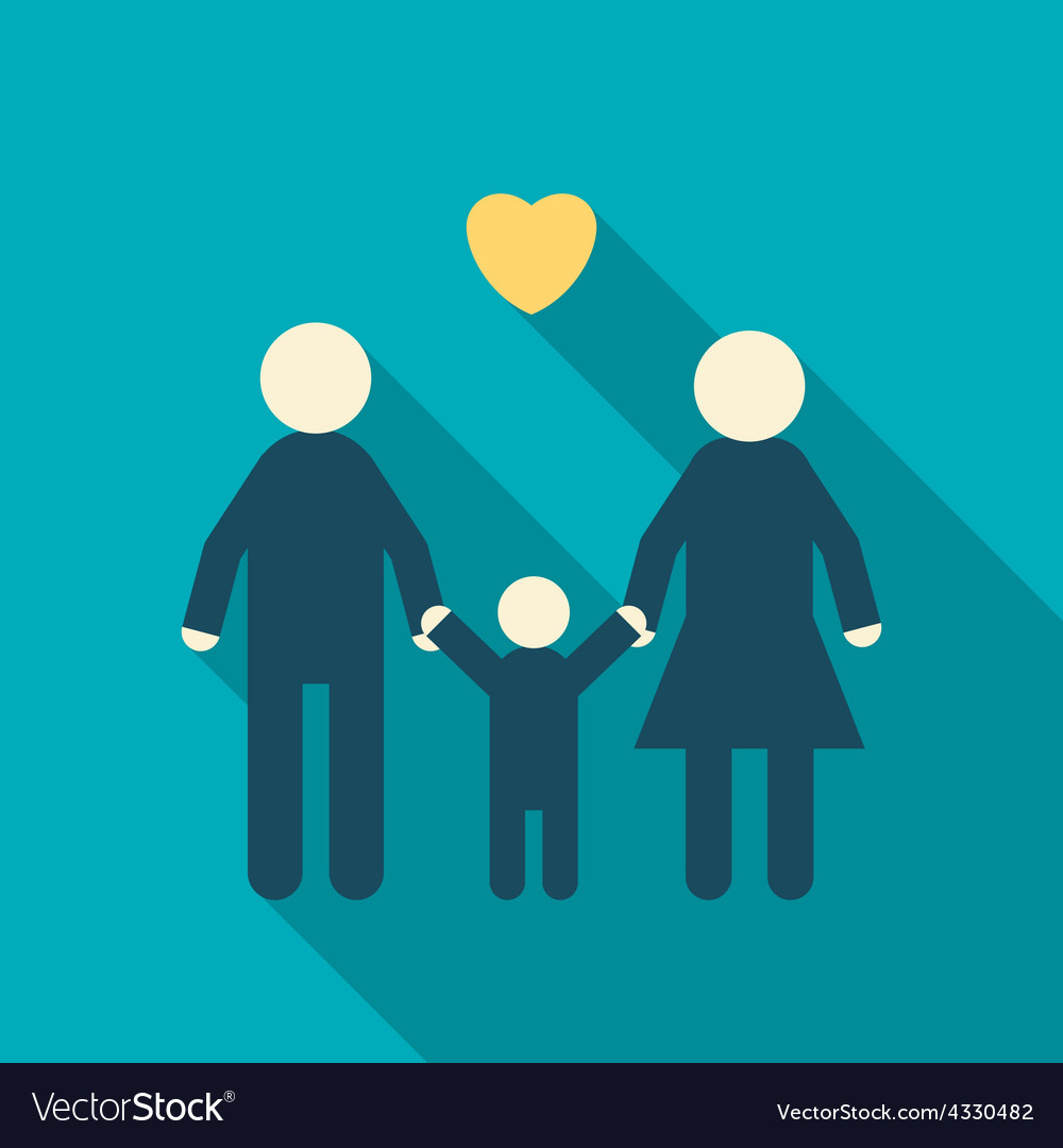 Simple icon of a happy family father mother child vector