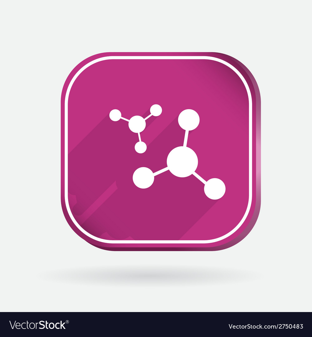 Atom molecule color square icon vector | Price: 1 Credit (USD $1)