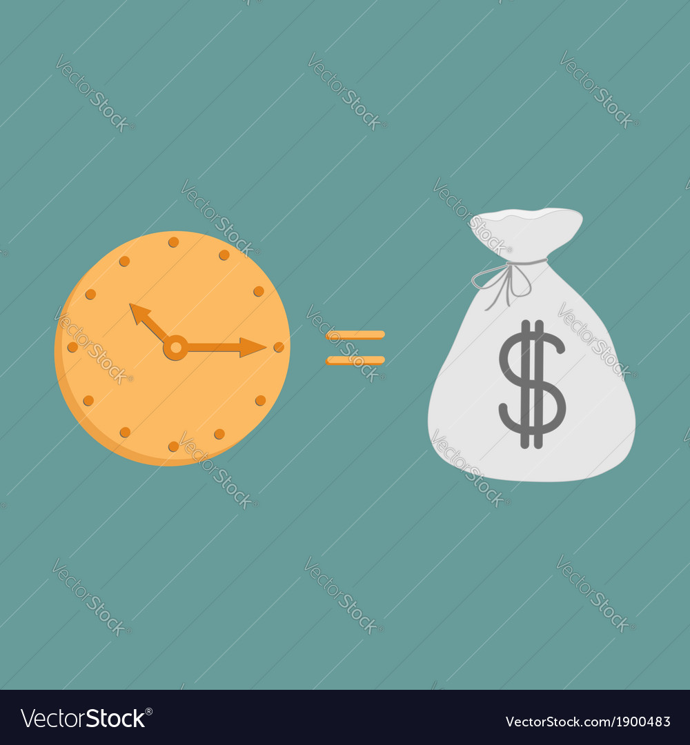 Clock and dollar bag icons time is money vector | Price: 1 Credit (USD $1)