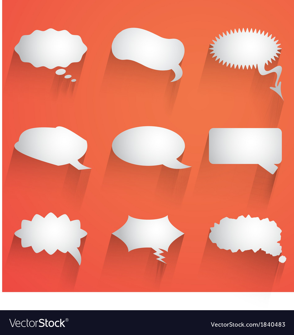 Flat speech bubble icon with long shadow set vector | Price: 1 Credit (USD $1)