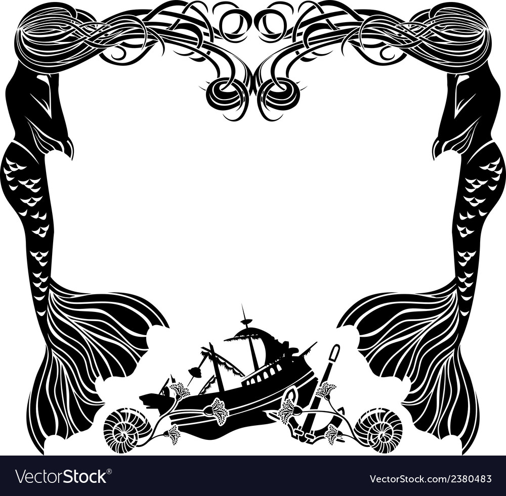 Frame mermaids weep shipwreck stencil for sticker vector | Price: 1 Credit (USD $1)