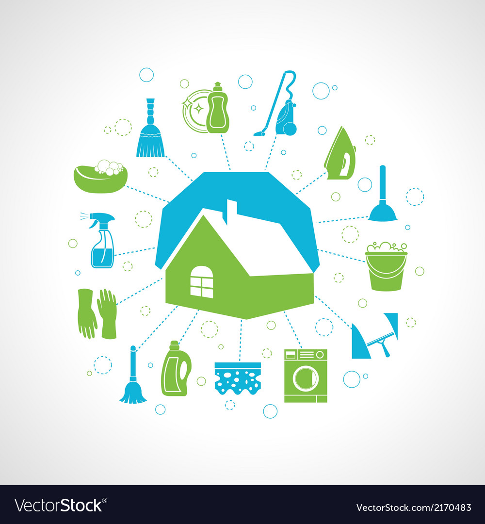 House cleaning concept vector | Price: 1 Credit (USD $1)