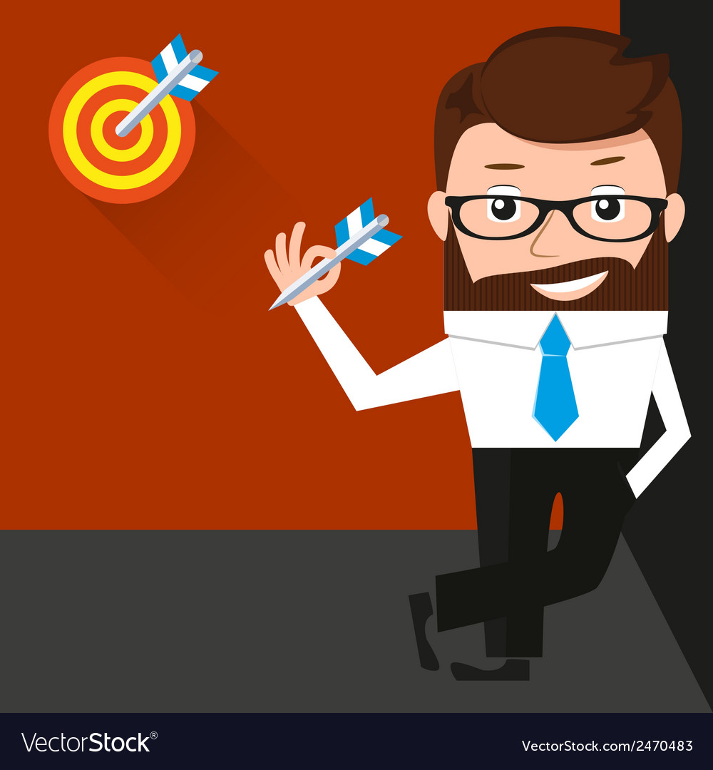 Lucky businessman is presenting a target vector | Price: 1 Credit (USD $1)