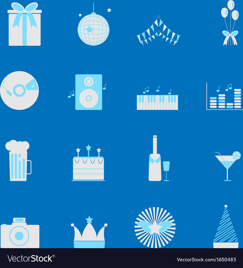 Party and celebration color icons set vector | Price: 1 Credit (USD $1)