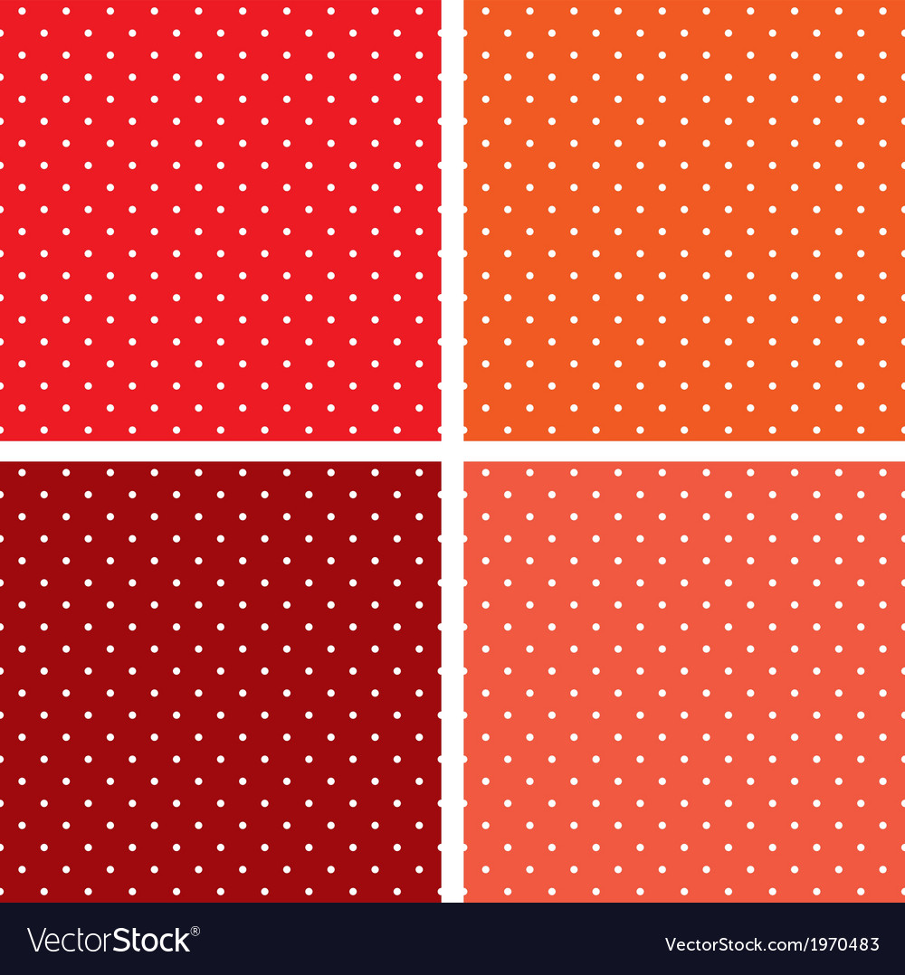 Seamless pattern set white polka red background vector | Price: 1 Credit (USD $1)