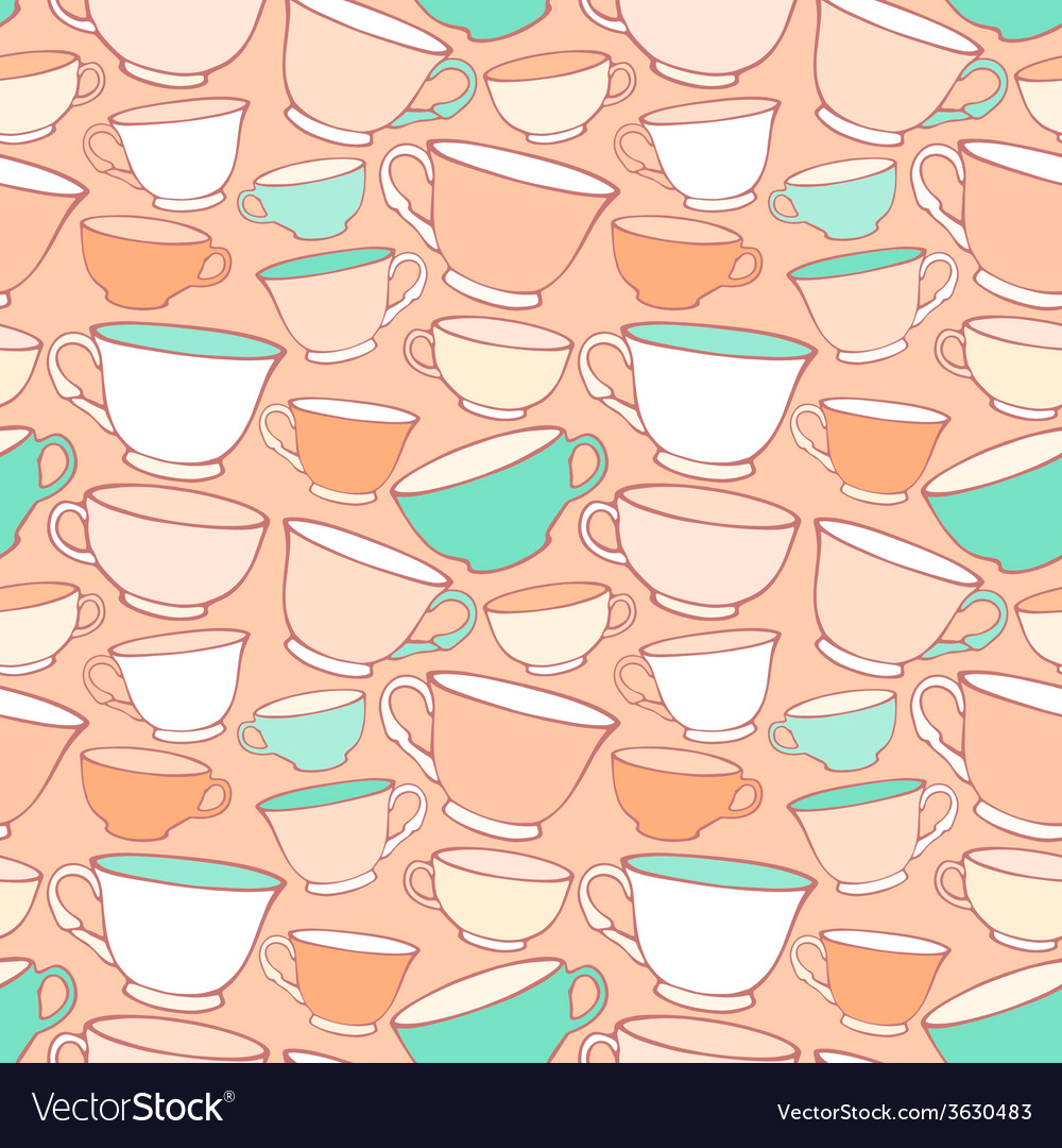 Seamless pattern with decorative cups vector | Price: 1 Credit (USD $1)