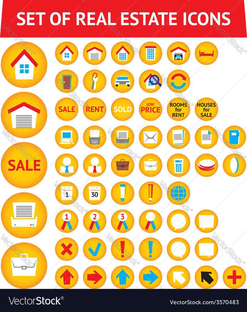 Set of 56 real estate icons vector | Price: 1 Credit (USD $1)