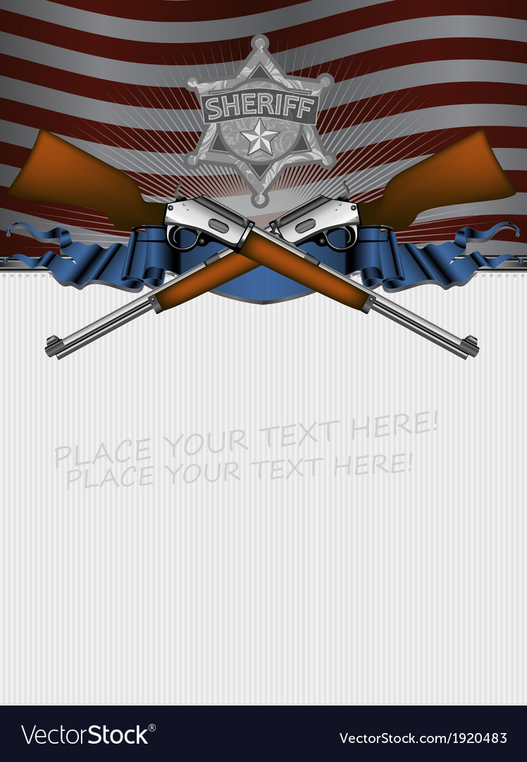 Sheriff star with guns and usa background vector | Price: 1 Credit (USD $1)