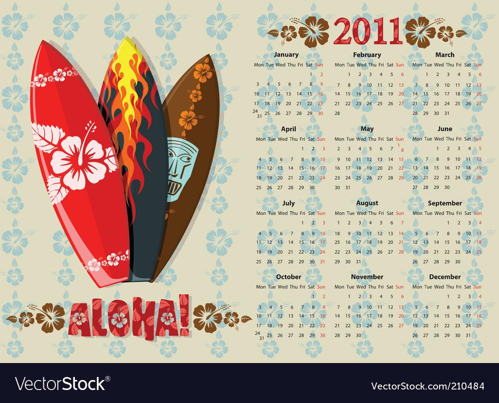 Aloha calendar vector | Price: 3 Credit (USD $3)