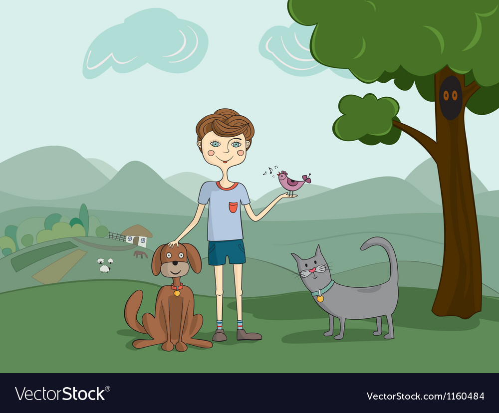 Boy with pets vector