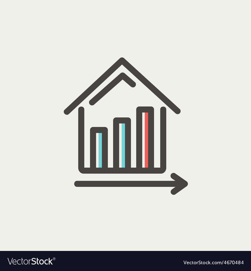 Graph showing financial real estate growth thin vector | Price: 1 Credit (USD $1)