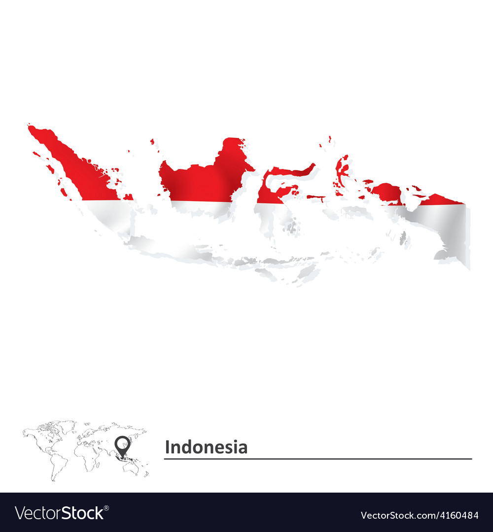 Map of indonesia with flag vector | Price: 1 Credit (USD $1)