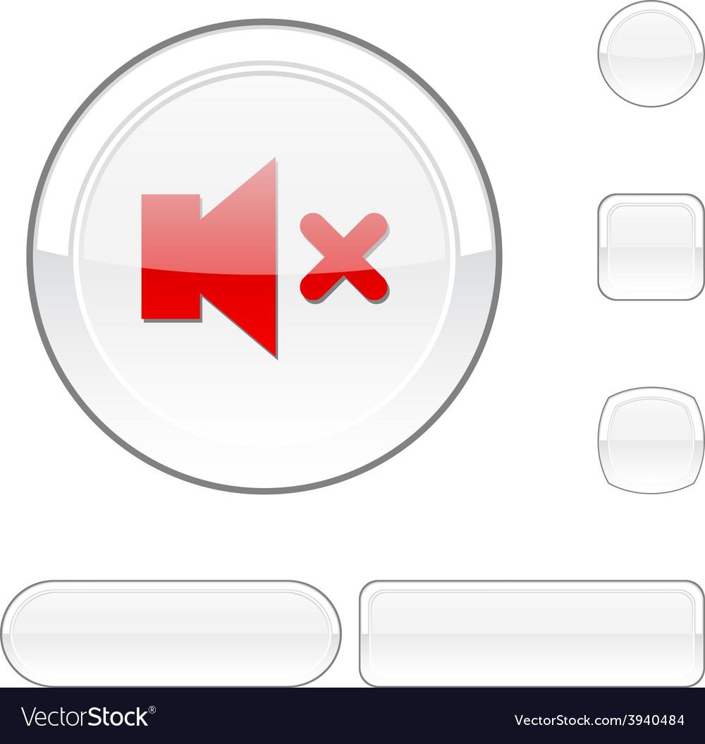 Mute white button vector | Price: 1 Credit (USD $1)