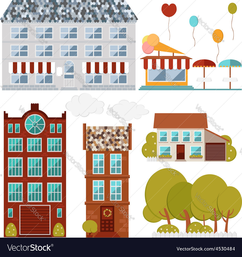 Set of flat buildings cafe house restaurant vector   Price: 1 Credit (USD $1)