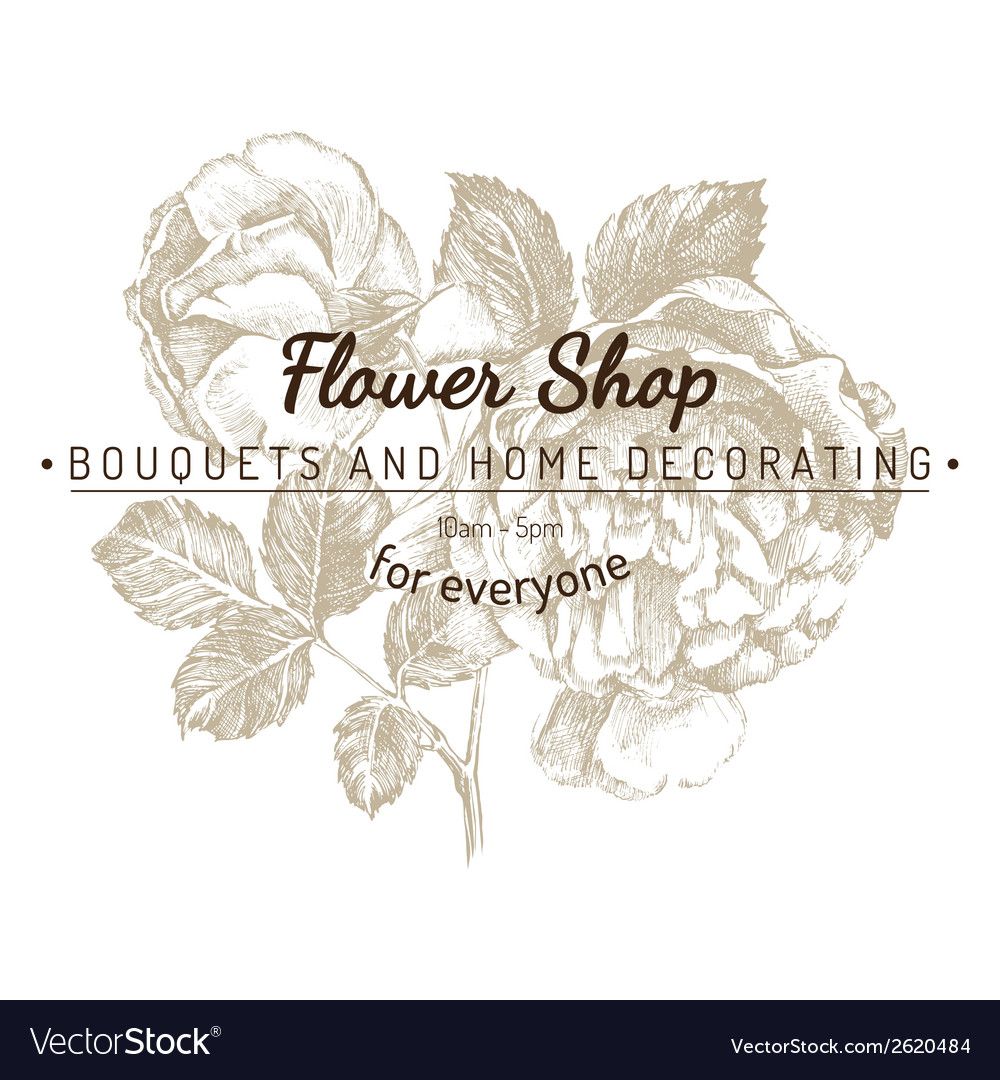 Shop emblem over rose sketch vector | Price: 1 Credit (USD $1)