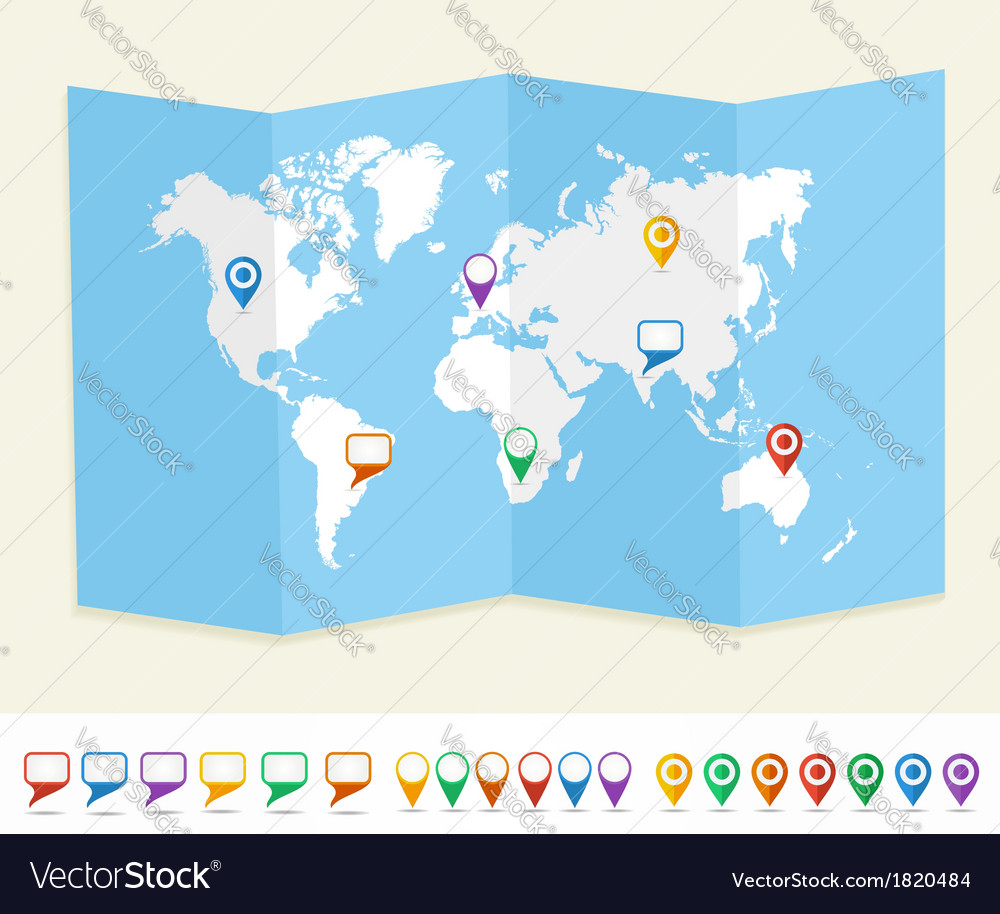 World map gps location pins travel concept eps10 vector | Price: 1 Credit (USD $1)