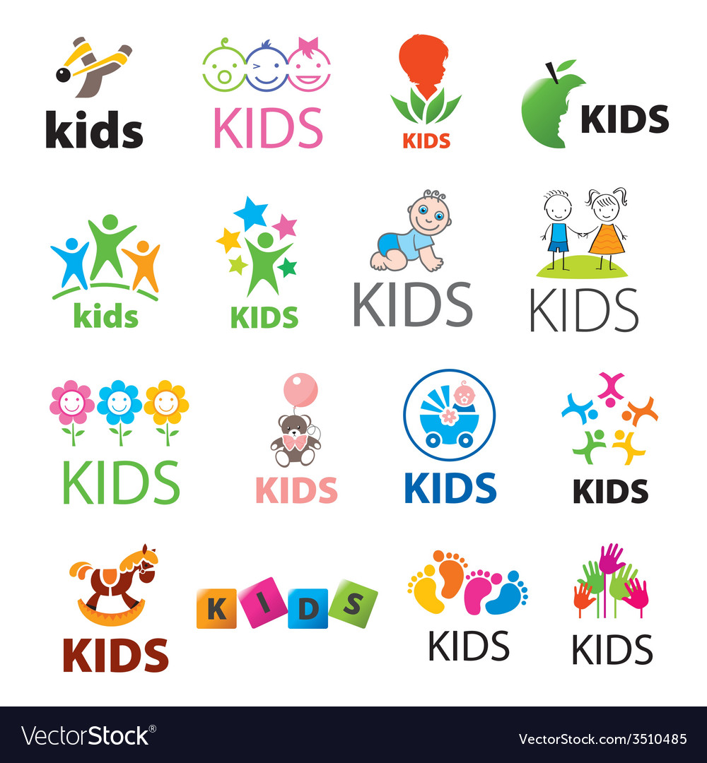 Biggest collection of logos children vector