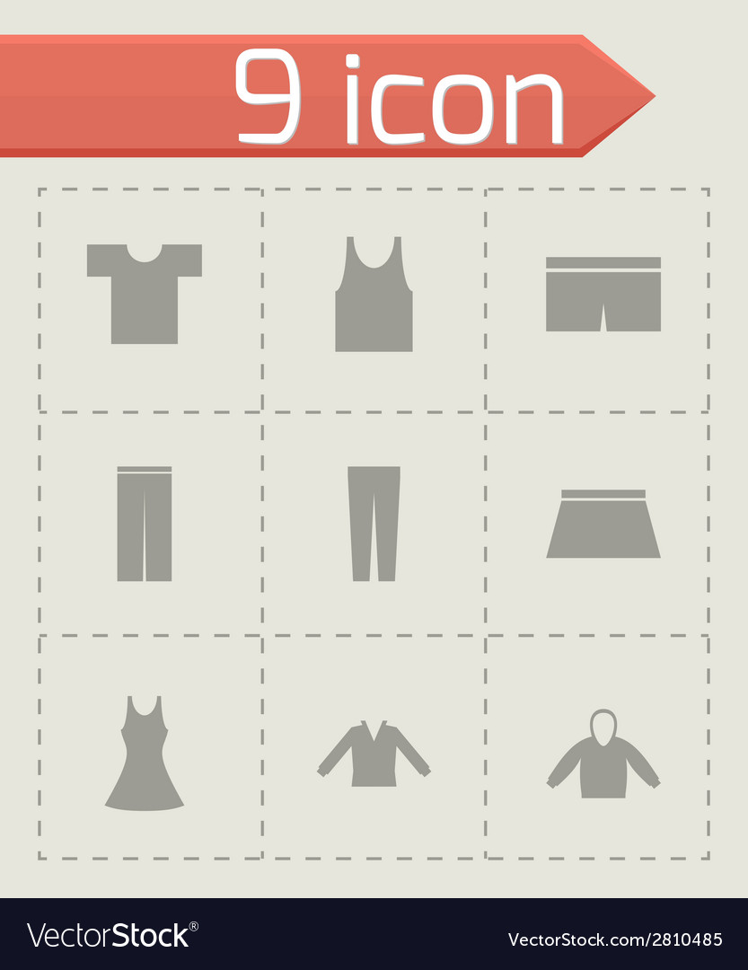 Black clothes eyes icons set vector | Price: 1 Credit (USD $1)