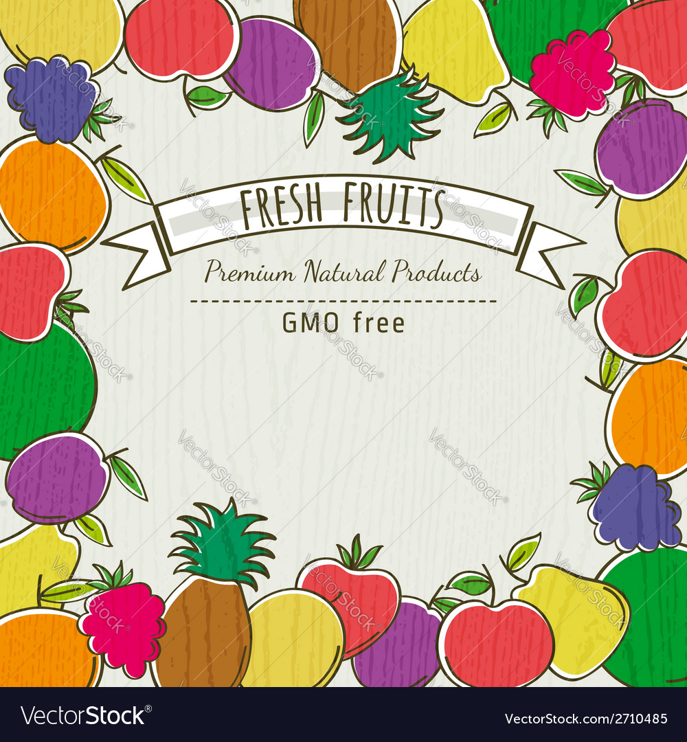 Frame of organic fruits vector | Price: 1 Credit (USD $1)