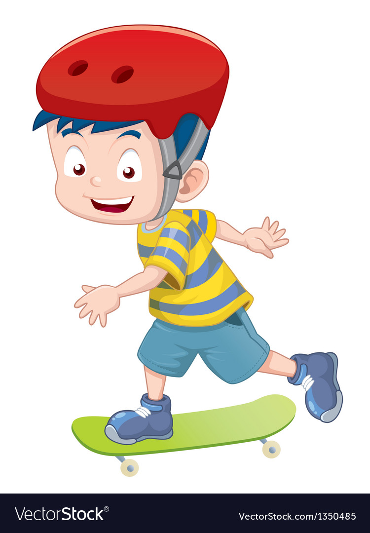 Little boy skateboarding vector | Price: 3 Credit (USD $3)