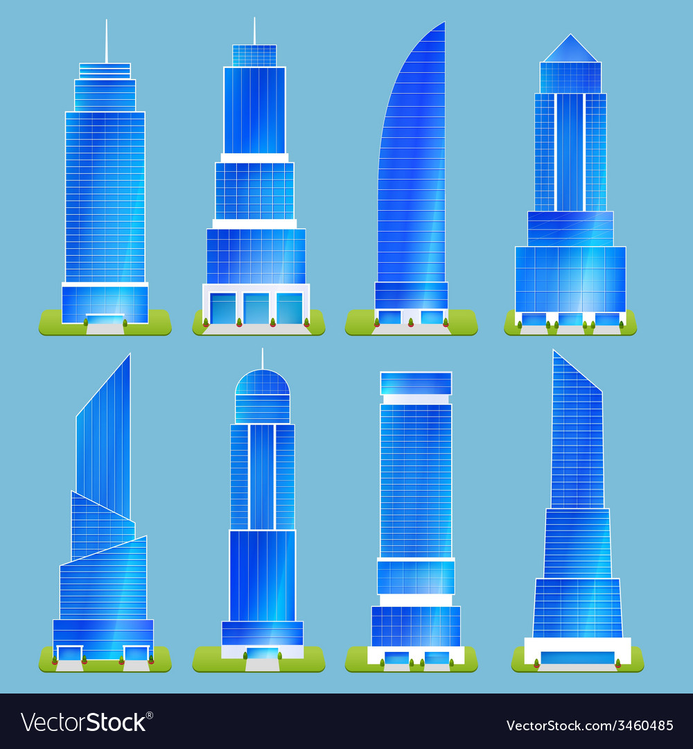 Office buildings set vector | Price: 1 Credit (USD $1)