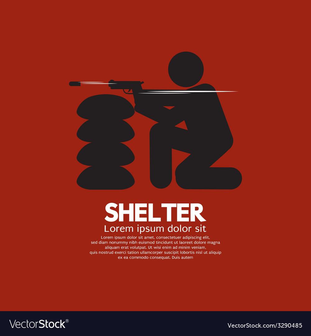 Sandbag shelter with gunman vector | Price: 1 Credit (USD $1)