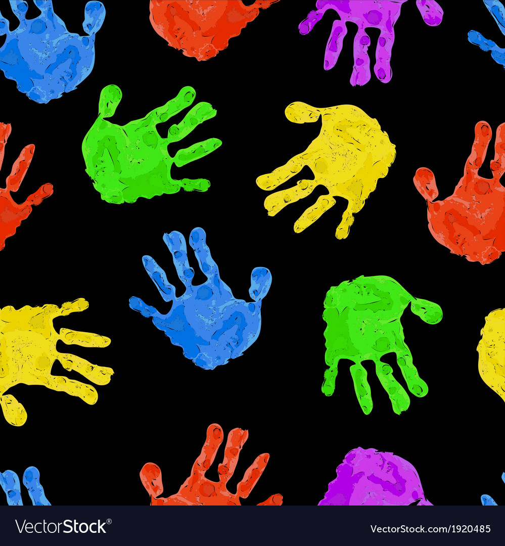 Seamless dark background with bright colored handp vector   Price: 1 Credit (USD $1)