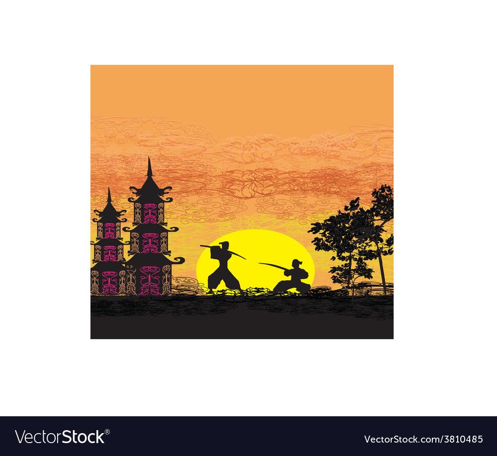Silhouette of two ninjas in duel vector