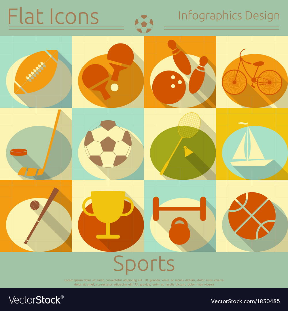 Sports in retro style vector | Price: 1 Credit (USD $1)