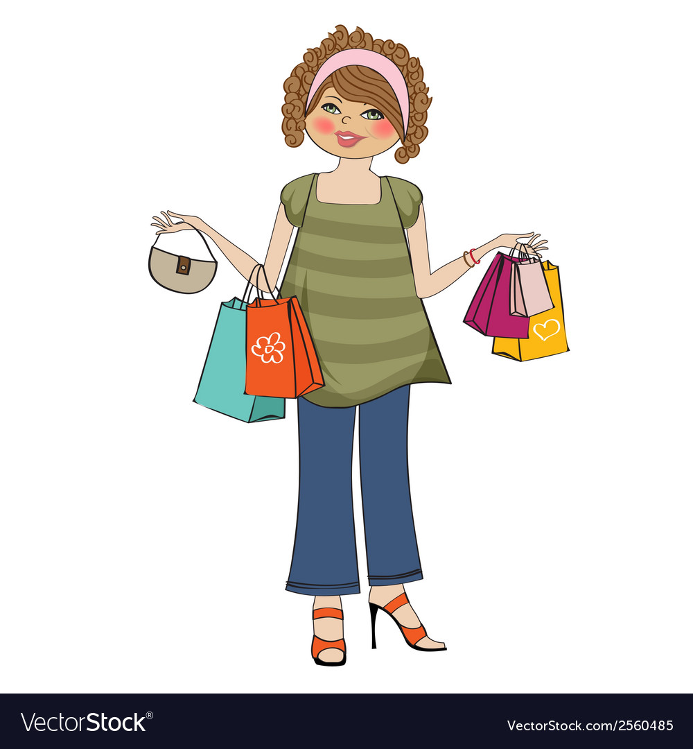 Woman at shopping vector | Price: 1 Credit (USD $1)